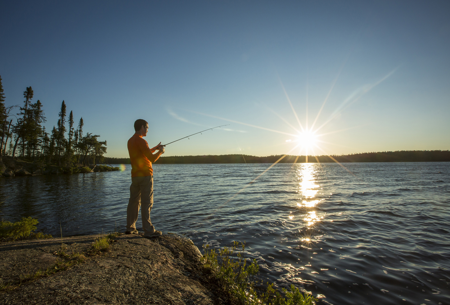 Fishing at sunset - Northwest Ontario