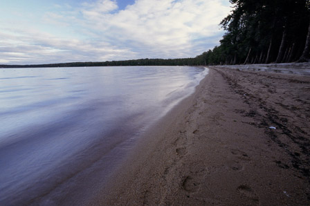 Sandy beach on Blue Lake